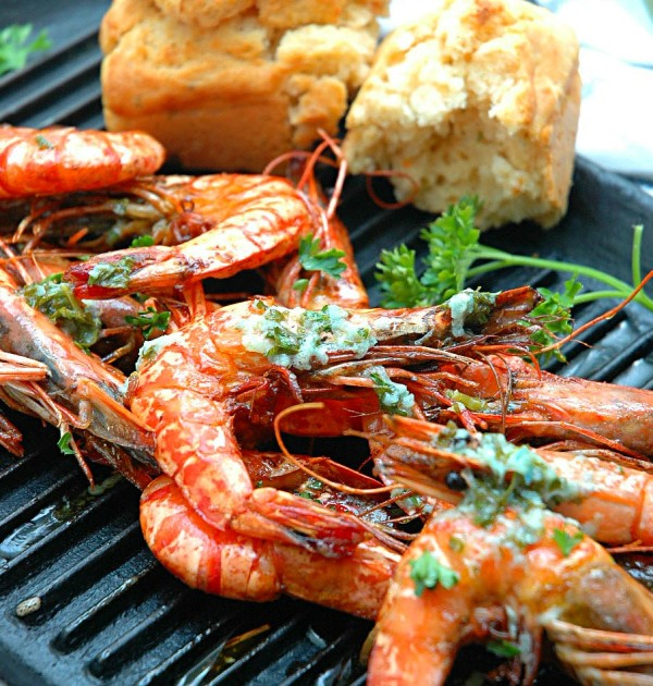 Grilled-Prawns-with-Lemon-Butter-and-Savory-Bread